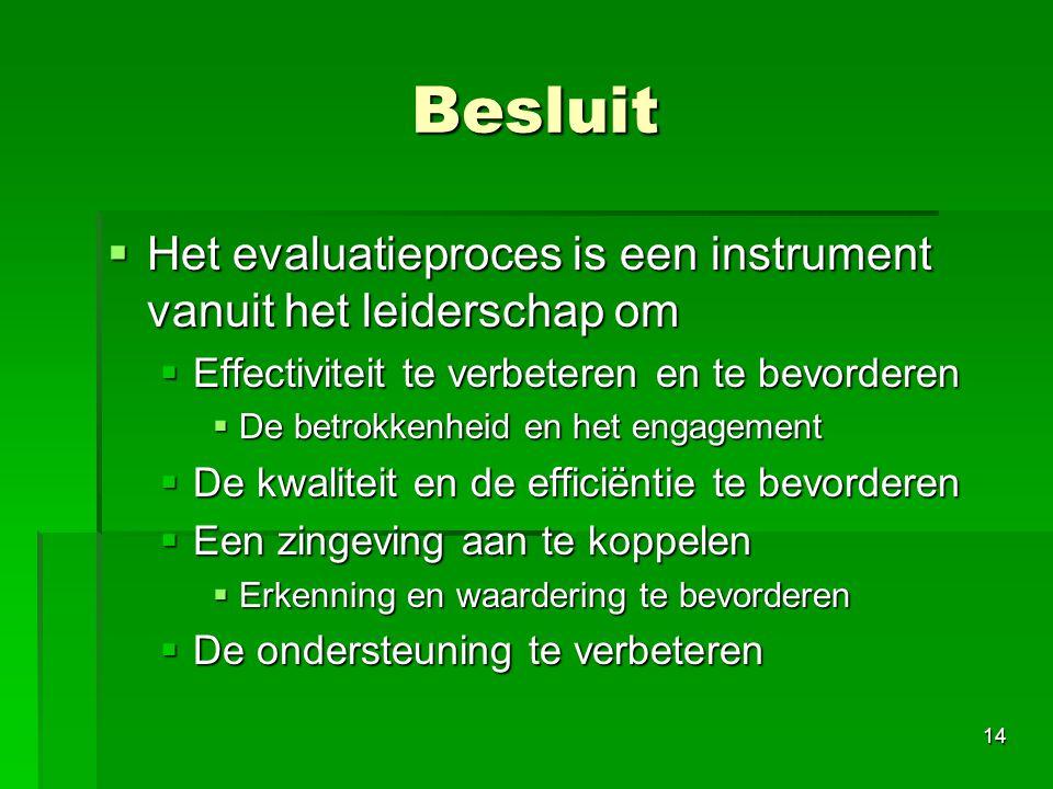 Besluit Het evaluatieproces is een instrument vanuit het leiderschap om. Effectiviteit te verbeteren en te bevorderen.