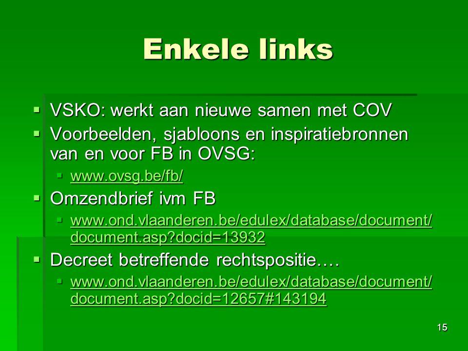 Enkele links VSKO: werkt aan nieuwe samen met COV