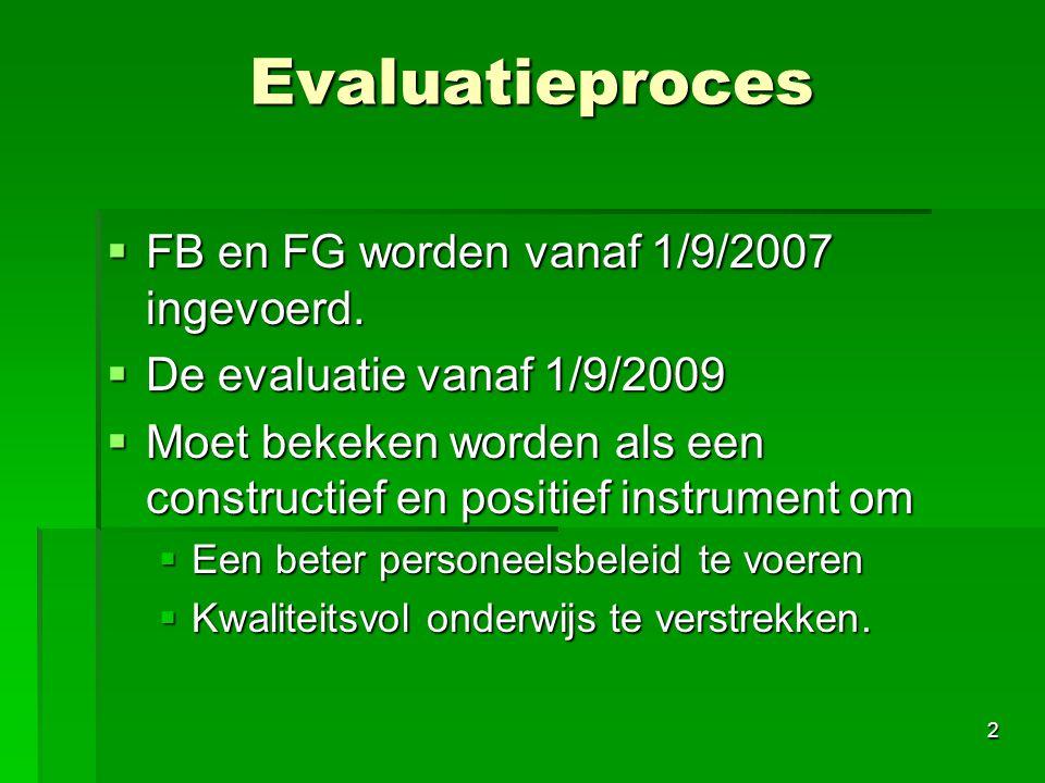 Evaluatieproces FB en FG worden vanaf 1/9/2007 ingevoerd.