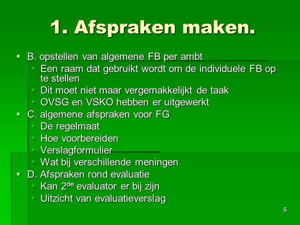 1. Afspraken maken. B. opstellen van algemene FB per ambt