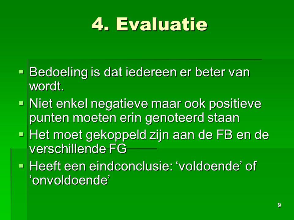 4. Evaluatie Bedoeling is dat iedereen er beter van wordt.