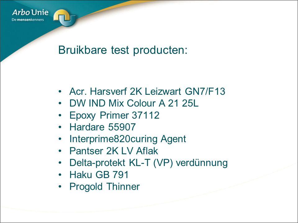 Bruikbare test producten: