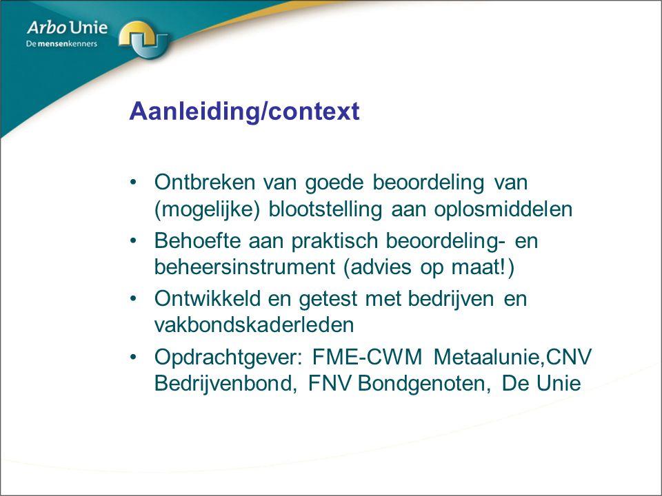 Aanleiding/context Ontbreken van goede beoordeling van (mogelijke) blootstelling aan oplosmiddelen.