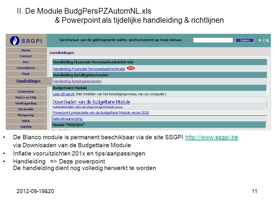 II. De Module BudgPersPZAutomNL