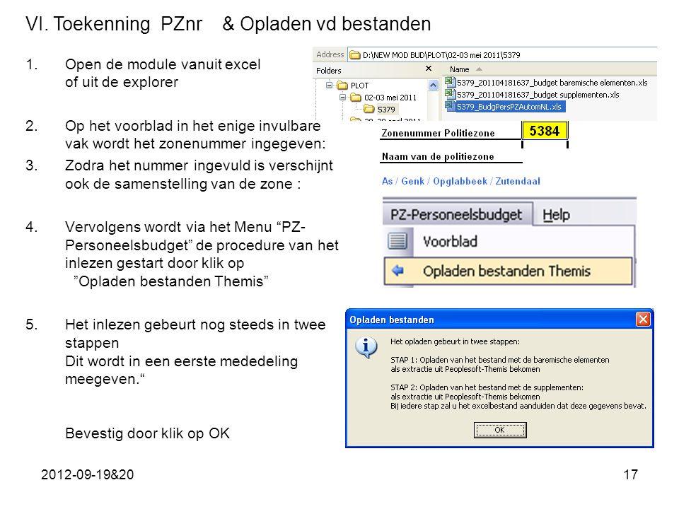 VI. Toekenning PZnr & Opladen vd bestanden