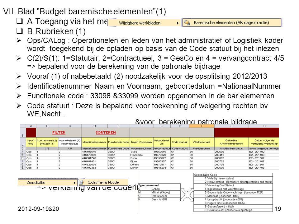 VII. Blad Budget baremische elementen (1)