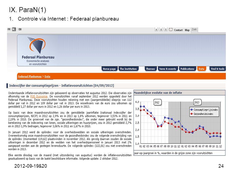 IX. ParaN(1) Controle via Internet : Federaal planbureau 2012-09-19&20