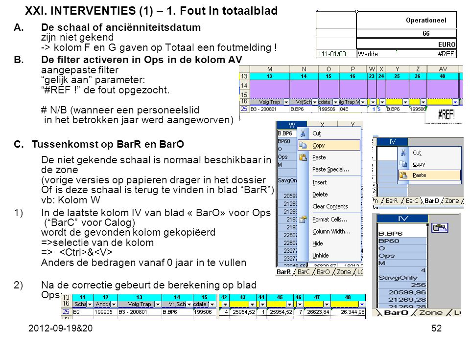 XXI. INTERVENTIES (1) – 1. Fout in totaalblad