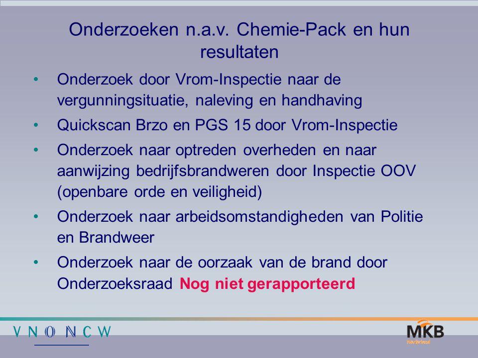 Onderzoeken n.a.v. Chemie-Pack en hun resultaten