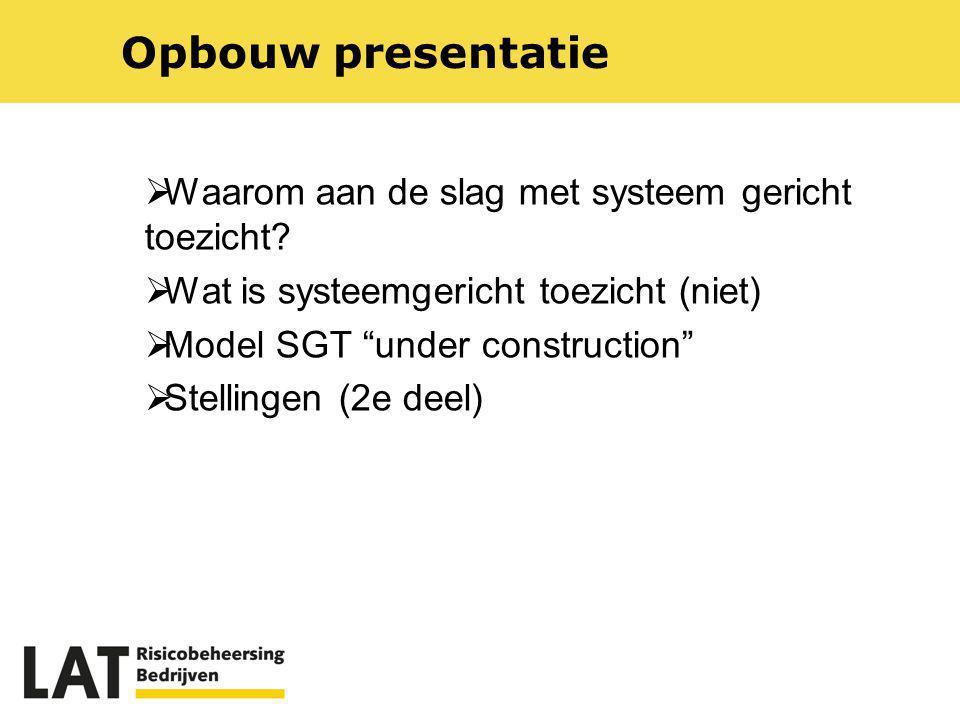 Opbouw presentatie Waarom aan de slag met systeem gericht toezicht