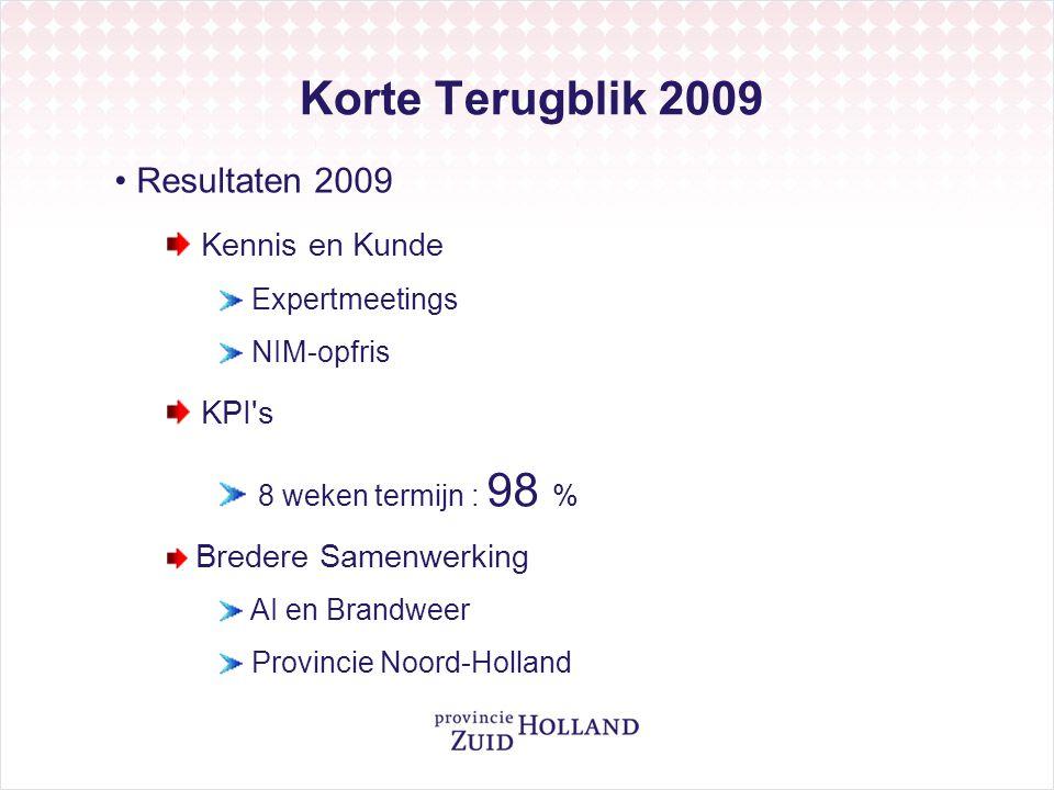 Korte Terugblik 2009 Resultaten 2009 Kennis en Kunde KPI s