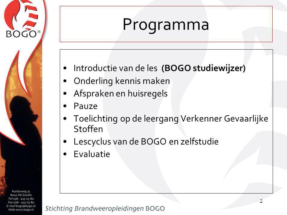 Programma Introductie van de les (BOGO studiewijzer)