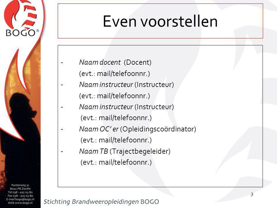 Even voorstellen Naam docent (Docent) (evt.: mail/telefoonnr.)