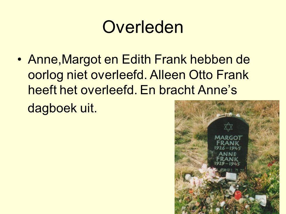 Overleden Anne,Margot en Edith Frank hebben de oorlog niet overleefd. Alleen Otto Frank heeft het overleefd. En bracht Anne's.