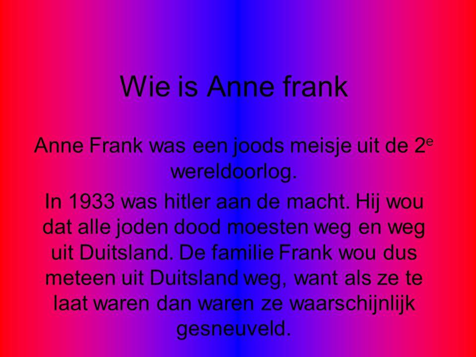 Anne Frank was een joods meisje uit de 2e wereldoorlog.