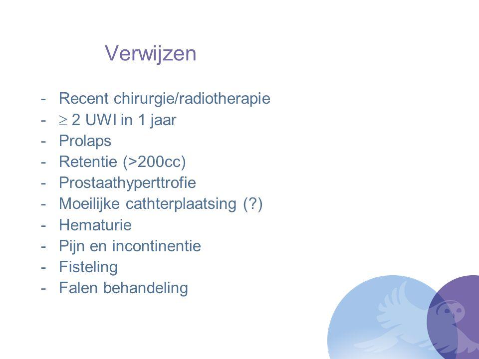 Verwijzen Recent chirurgie/radiotherapie  2 UWI in 1 jaar Prolaps
