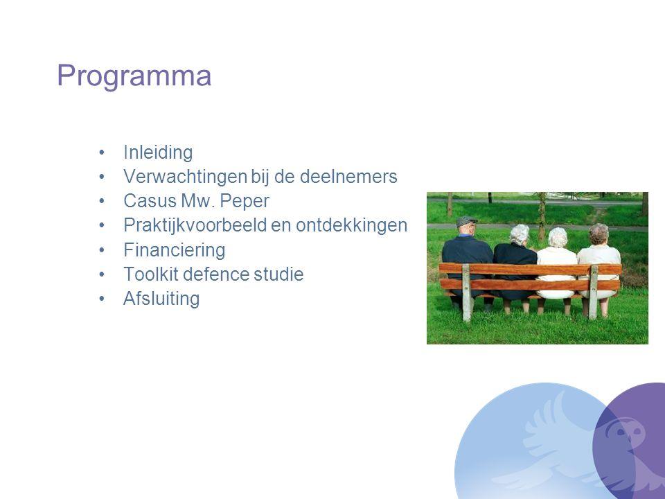 Programma Inleiding Verwachtingen bij de deelnemers Casus Mw. Peper