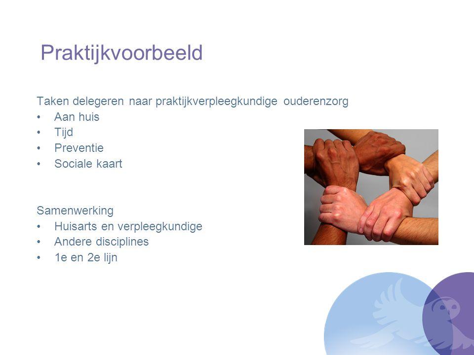 Praktijkvoorbeeld Taken delegeren naar praktijkverpleegkundige ouderenzorg. Aan huis. Tijd. Preventie.