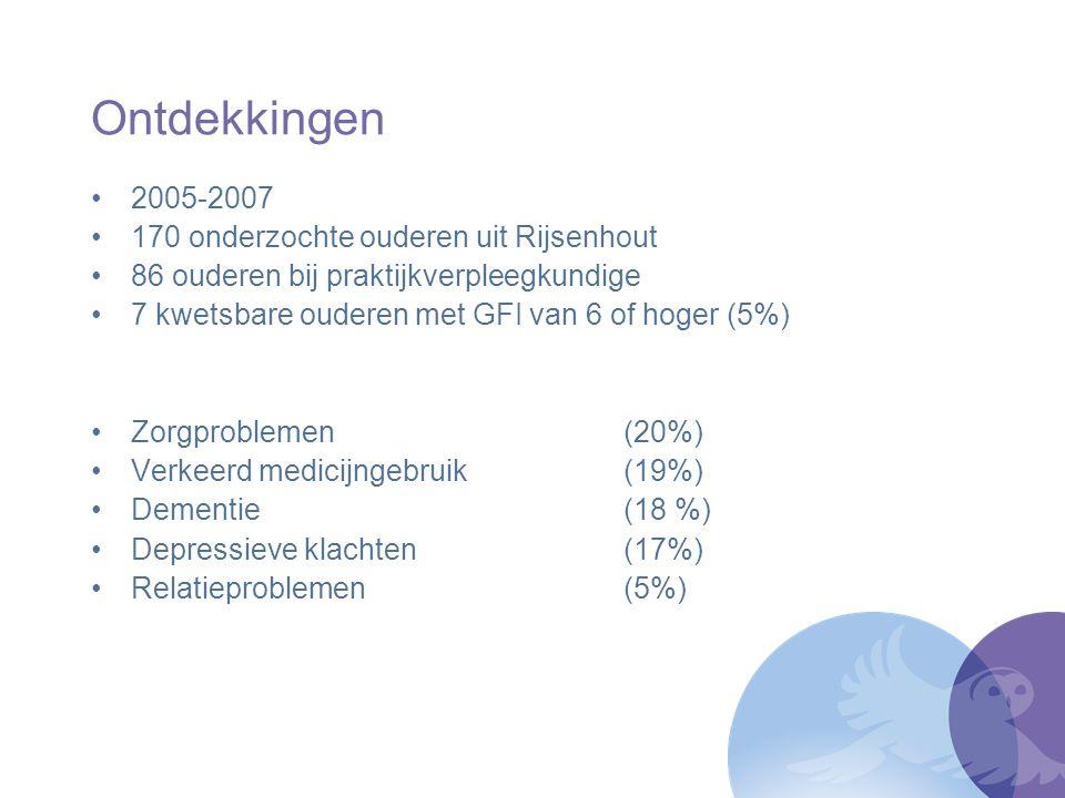 Ontdekkingen 2005-2007 170 onderzochte ouderen uit Rijsenhout
