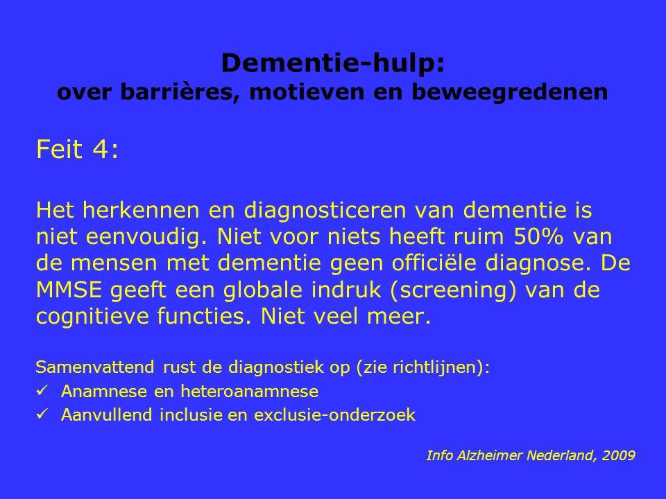 Dementie-hulp: over barrières, motieven en beweegredenen