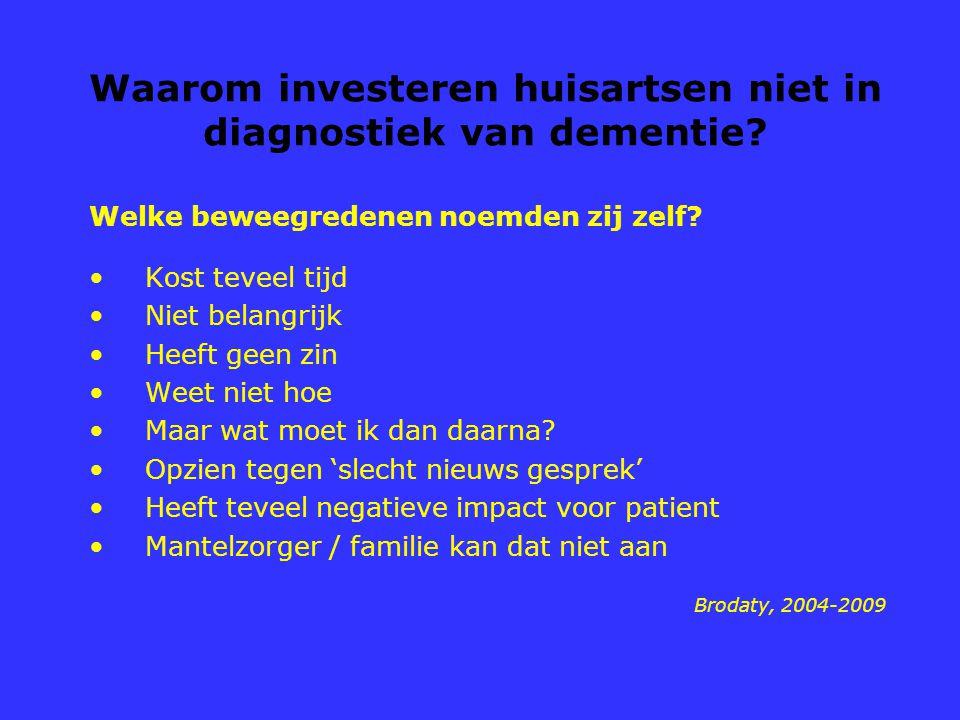 Waarom investeren huisartsen niet in diagnostiek van dementie