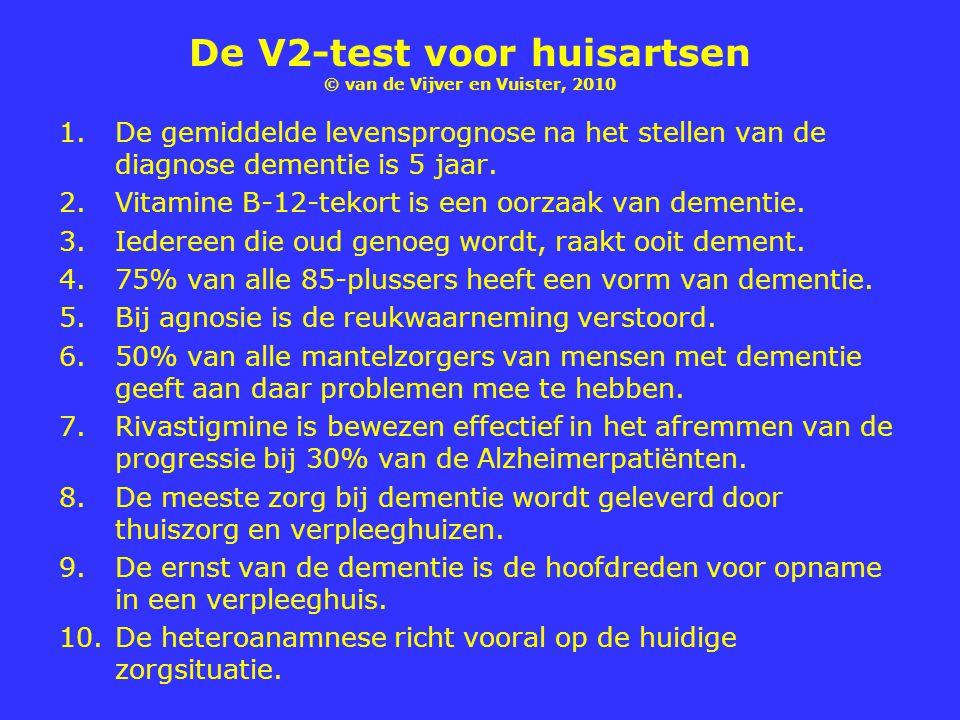 De V2-test voor huisartsen © van de Vijver en Vuister, 2010