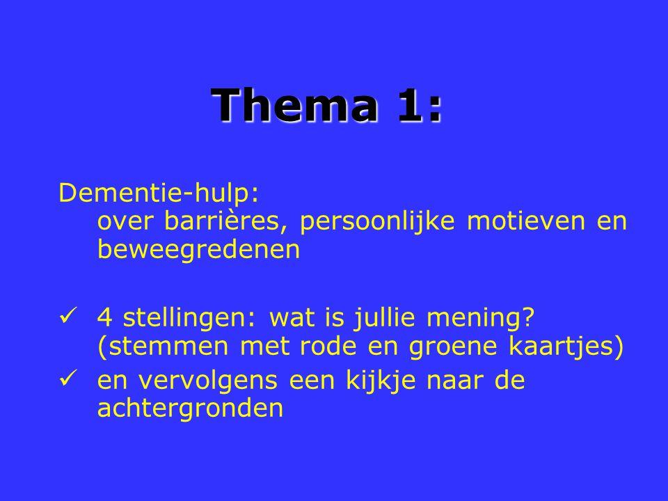 Thema 1: Dementie-hulp: over barrières, persoonlijke motieven en beweegredenen.