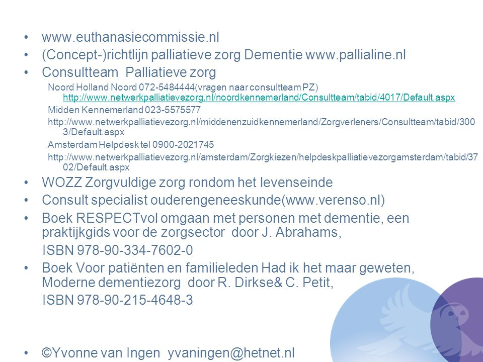 (Concept-)richtlijn palliatieve zorg Dementie www.pallialine.nl