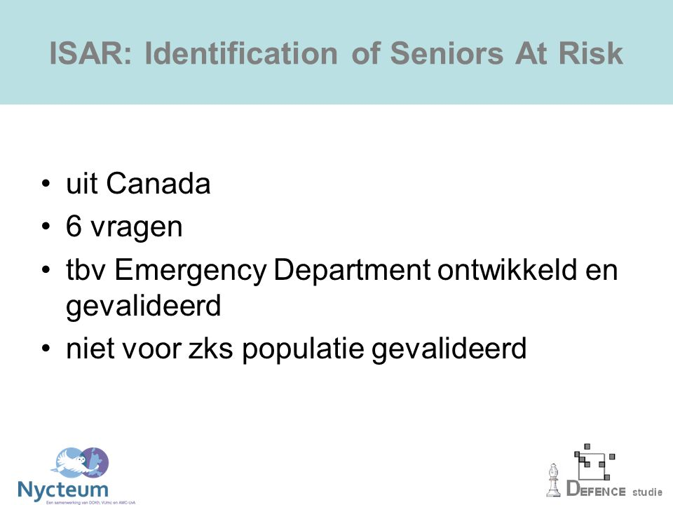 ISAR: Identification of Seniors At Risk