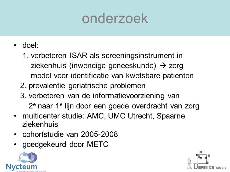 onderzoek doel: 1. verbeteren ISAR als screeningsinstrument in