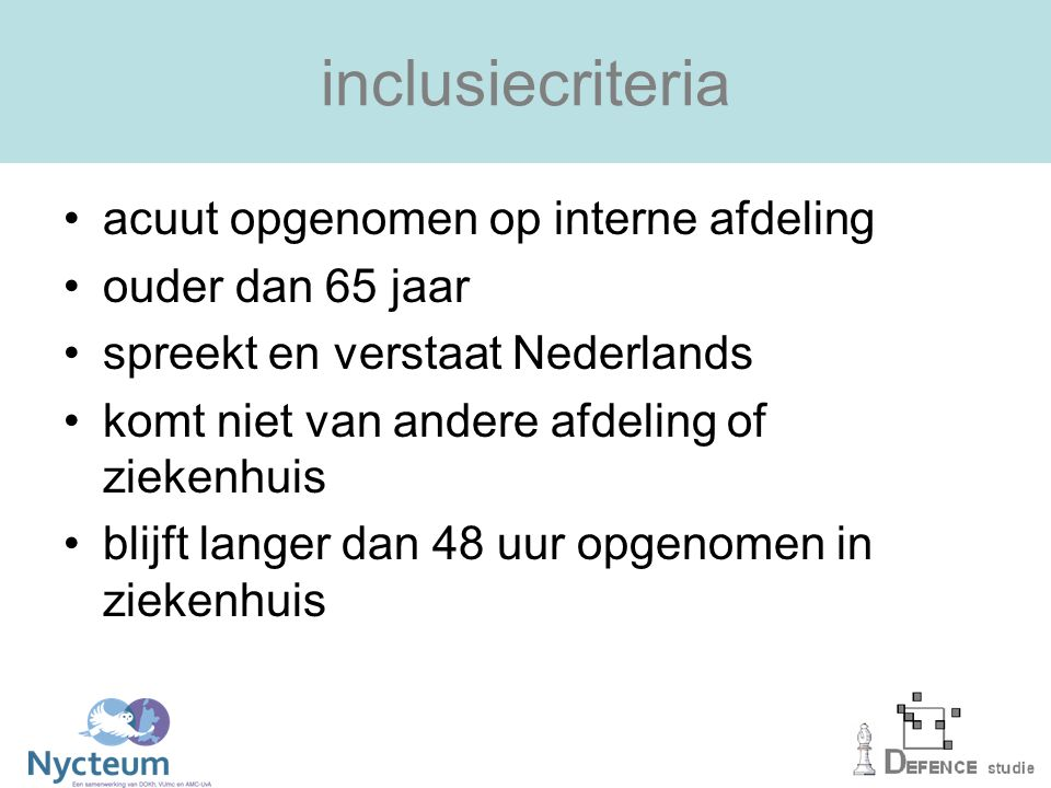 inclusiecriteria acuut opgenomen op interne afdeling ouder dan 65 jaar