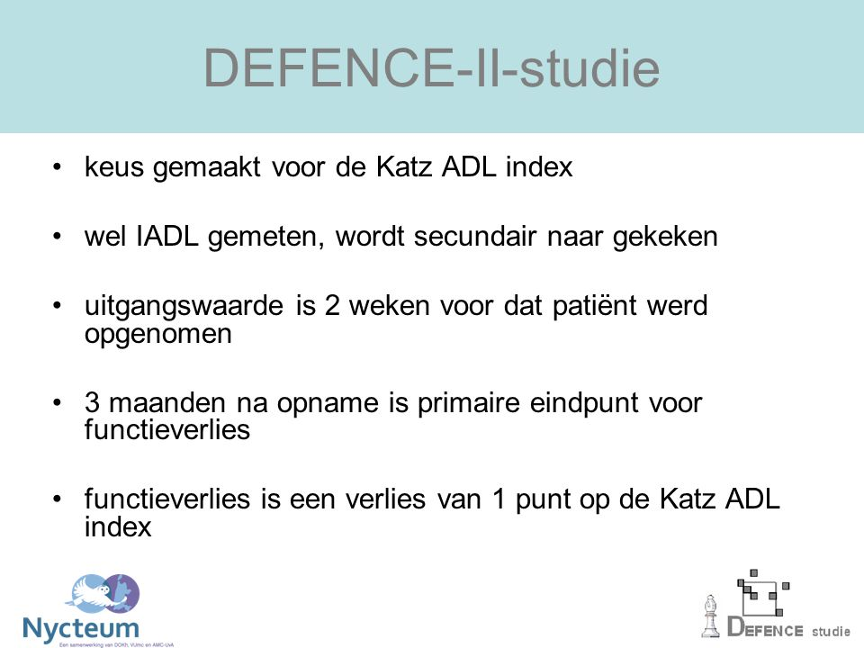 DEFENCE-II-studie keus gemaakt voor de Katz ADL index