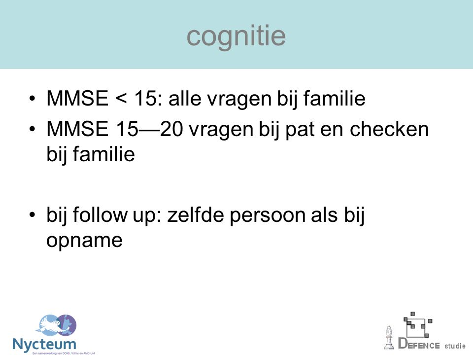 cognitie MMSE < 15: alle vragen bij familie
