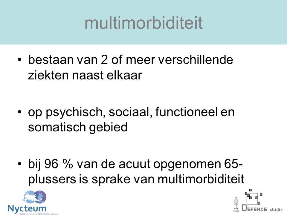 multimorbiditeit bestaan van 2 of meer verschillende ziekten naast elkaar. op psychisch, sociaal, functioneel en somatisch gebied.