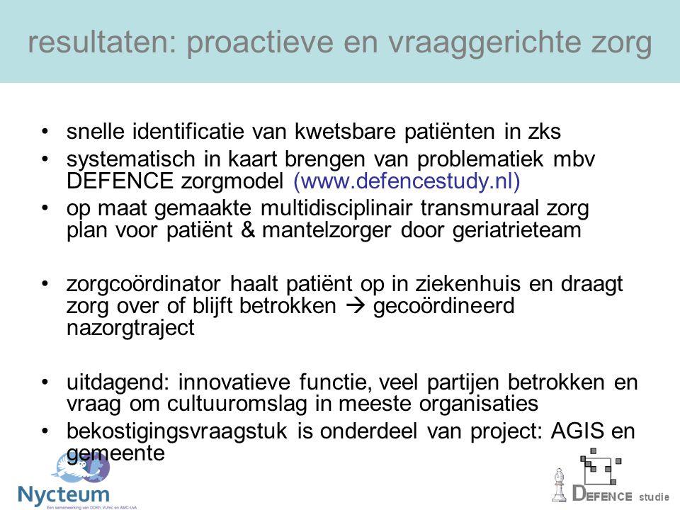 resultaten: proactieve en vraaggerichte zorg