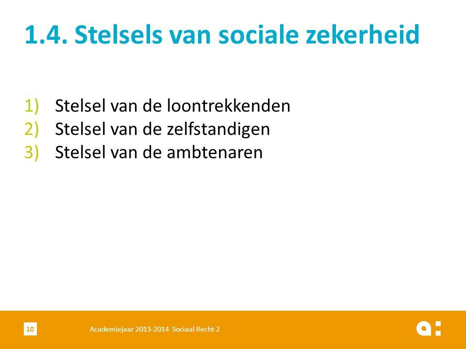 1.4. Stelsels van sociale zekerheid