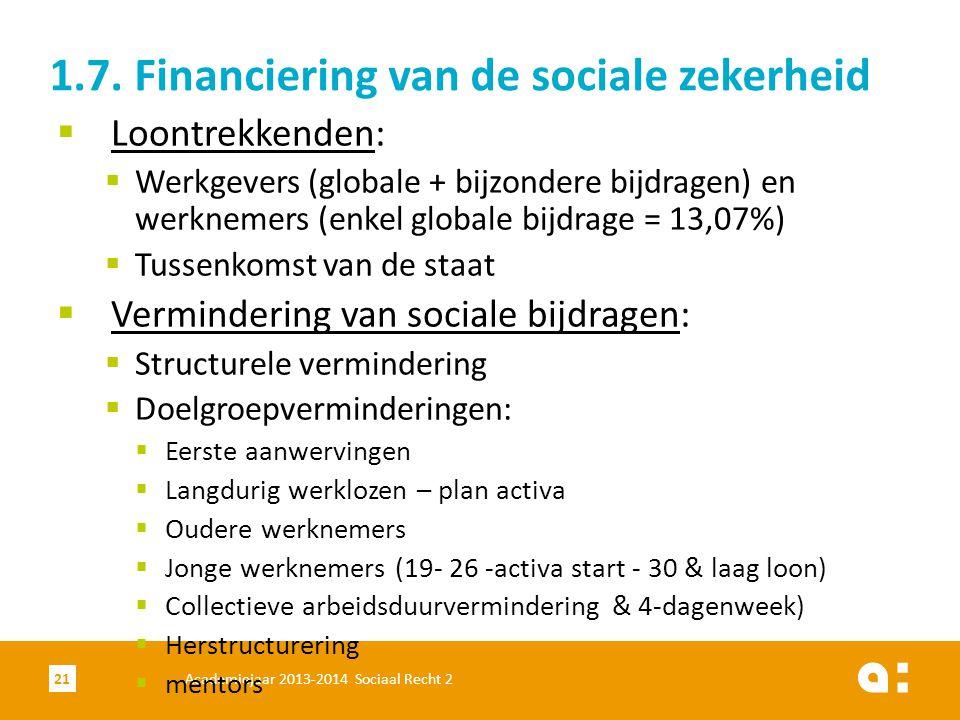 1.7. Financiering van de sociale zekerheid