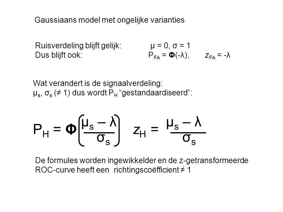 Gaussiaans model met ongelijke varianties