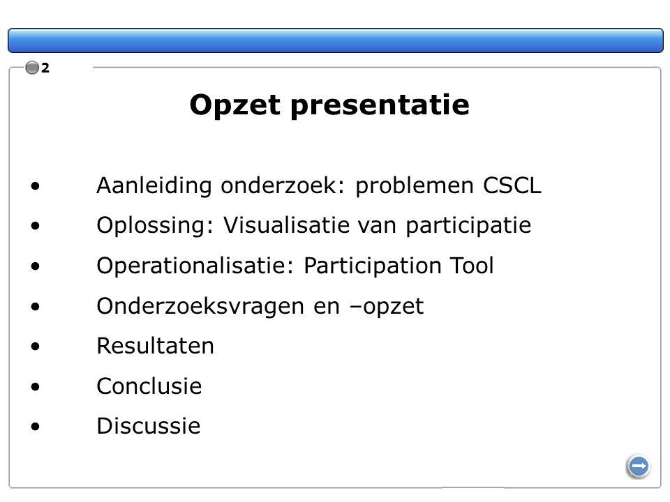 Opzet presentatie Aanleiding onderzoek: problemen CSCL