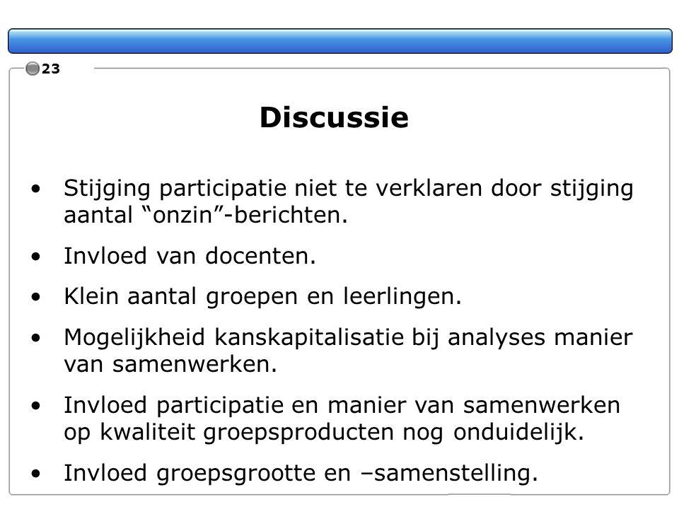 23 Discussie. Stijging participatie niet te verklaren door stijging aantal onzin -berichten. Invloed van docenten.