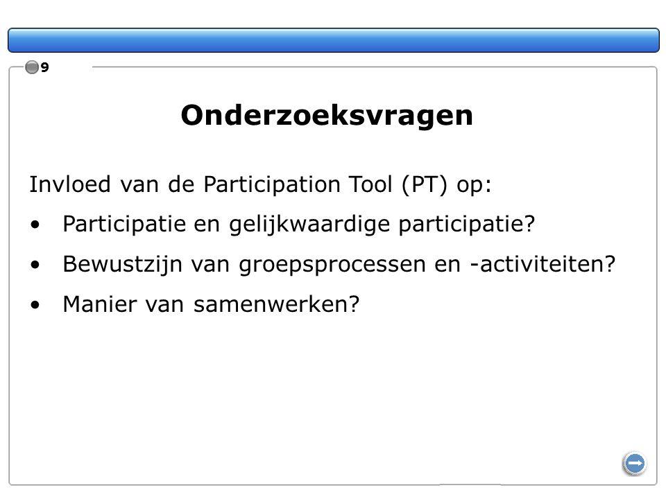 Onderzoeksvragen Invloed van de Participation Tool (PT) op: