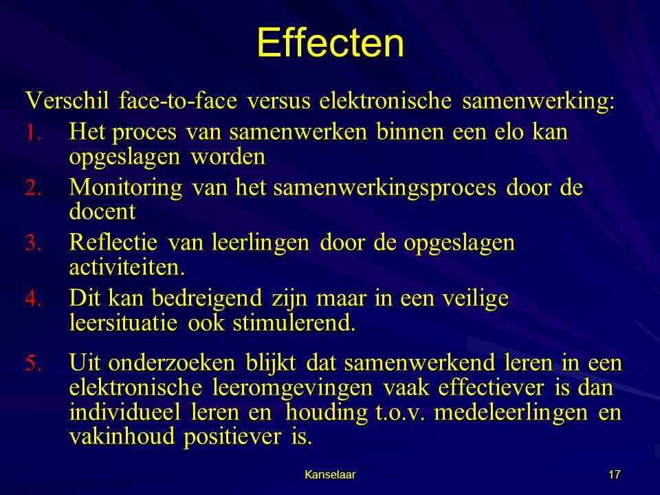 Effecten Verschil face-to-face versus elektronische samenwerking: