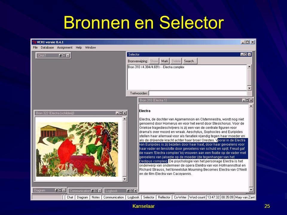Bronnen en Selector Kanselaar