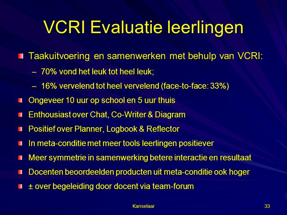 VCRI Evaluatie leerlingen