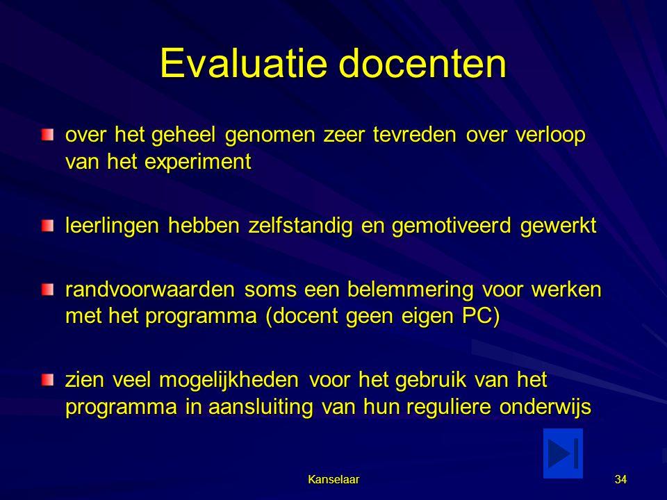 Evaluatie docenten over het geheel genomen zeer tevreden over verloop van het experiment. leerlingen hebben zelfstandig en gemotiveerd gewerkt.