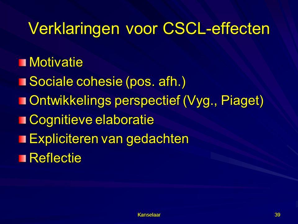 Verklaringen voor CSCL-effecten