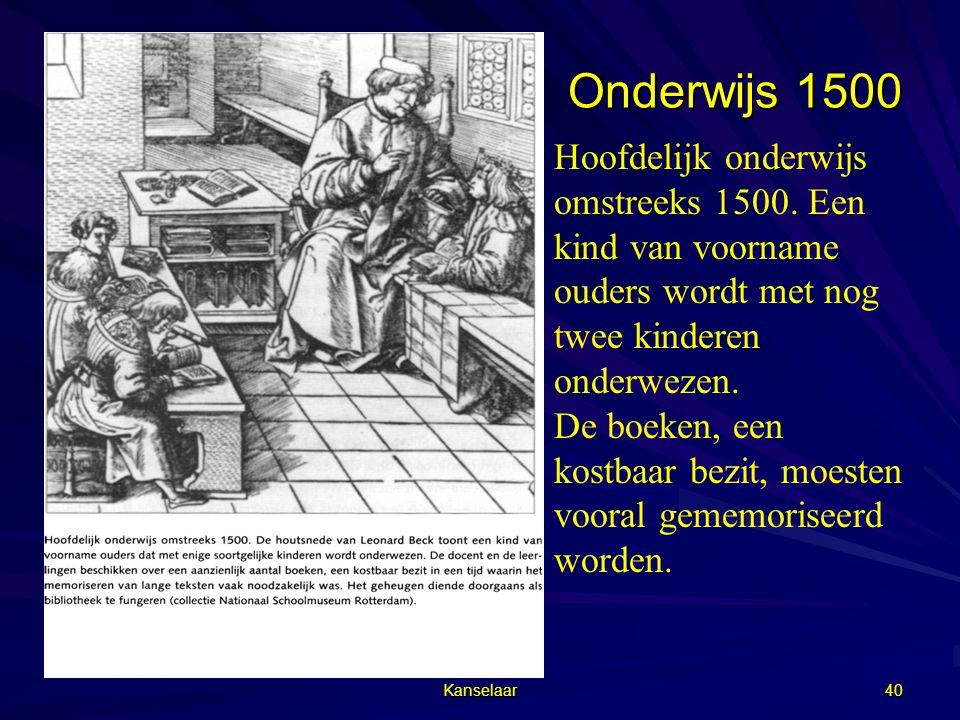 Onderwijs 1500 Hoofdelijk onderwijs omstreeks 1500. Een kind van voorname ouders wordt met nog twee kinderen onderwezen.