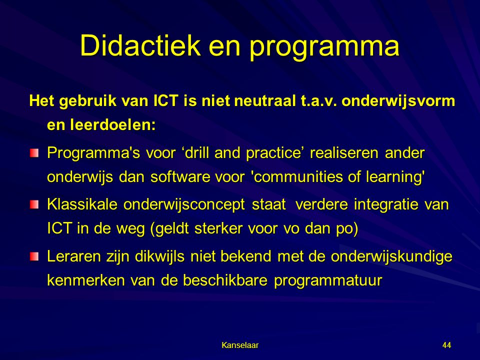 Didactiek en programma