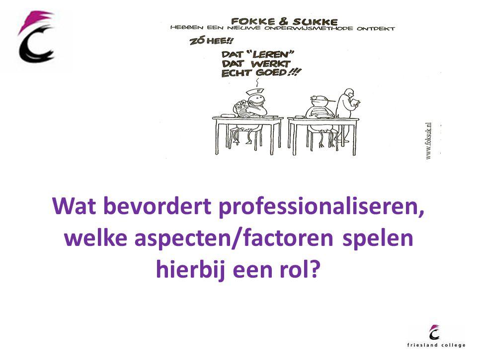 Wat bevordert professionaliseren, welke aspecten/factoren spelen hierbij een rol