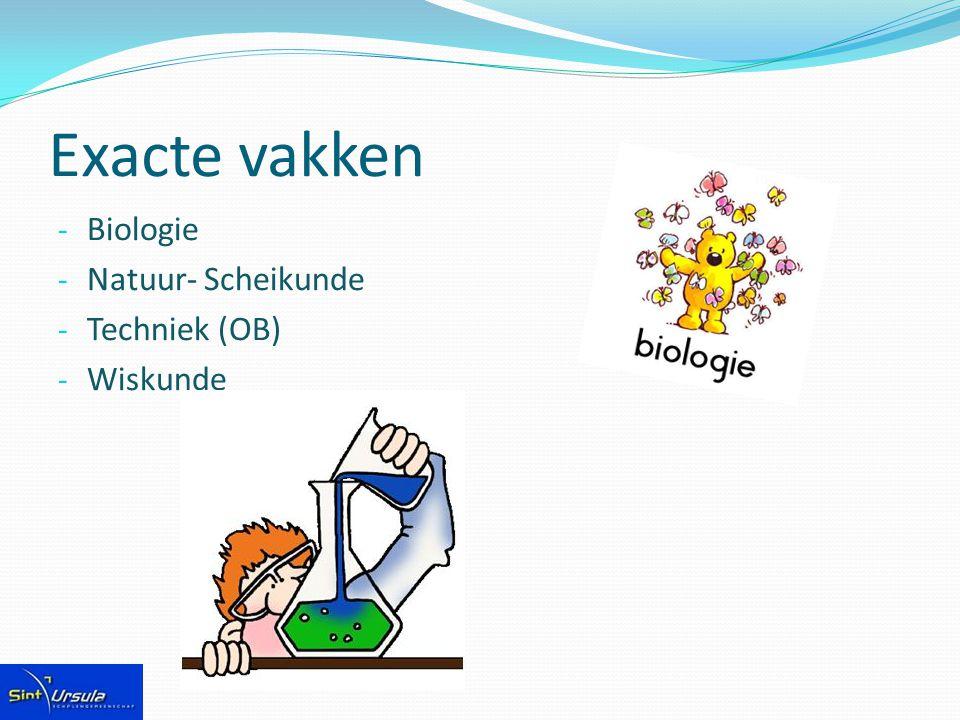 Exacte vakken Biologie Natuur- Scheikunde Techniek (OB) Wiskunde